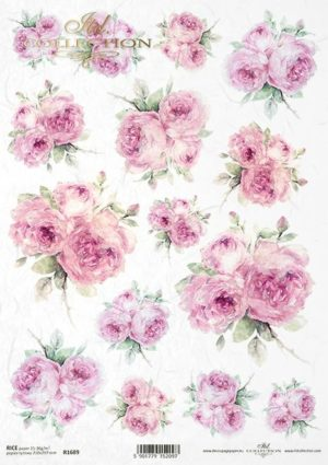 papier de riz roses